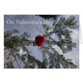 Tarjeta Decoración roja del corazón al aire libre
