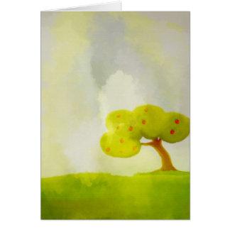 tarjeta decorativa verde del manzano