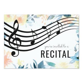 Tarjeta decreto femenino floral de la música
