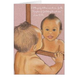 Tarjeta Deje a los niños Come~Scripture