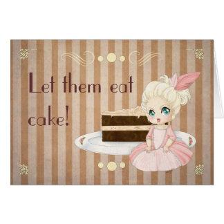 Tarjeta ¡Déjelos comer la torta!