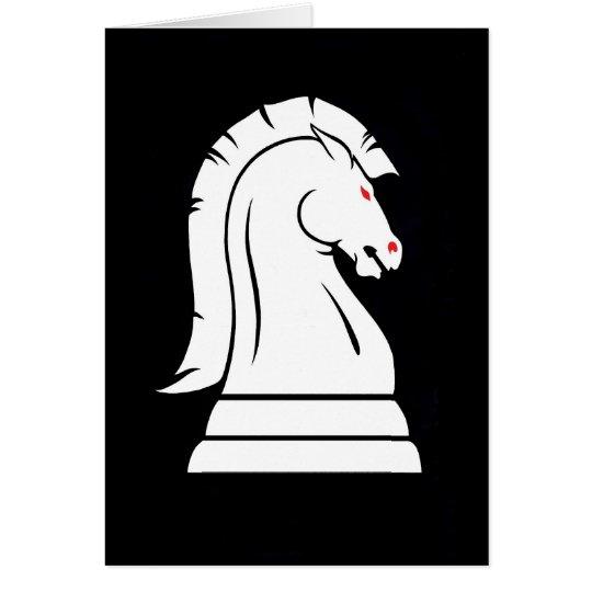 Tarjeta del ajedrez del caballero blanco