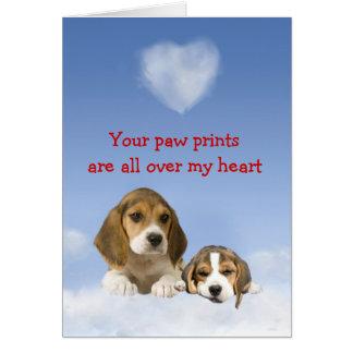 Tarjeta del amor adolescente del beagle