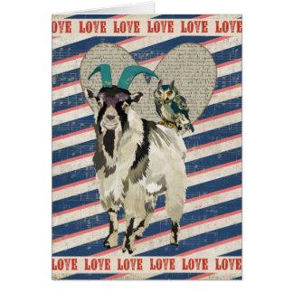Tarjeta del amor de la cabra y del búho de Billy