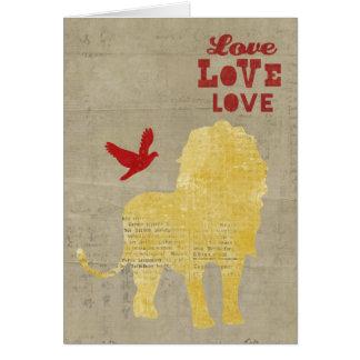 Tarjeta del amor de la silueta del león