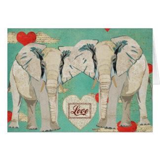 Tarjeta del amor de los elefantes blancos