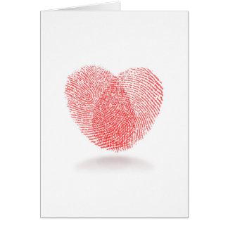 Tarjeta del amor del corazón de la huella dactilar