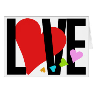 Tarjeta del amor y del corazón (multicolora)