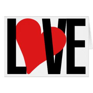 Tarjeta del amor y del corazón (roja)