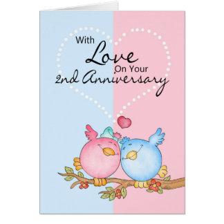 tarjeta del aniversario - 2dos pájaros del amor