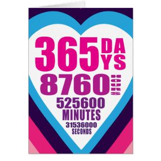 Tarjeta del aniversario - 365 días - 1 amor
