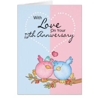 tarjeta del aniversario - 75.os pájaros del amor