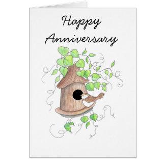 Tarjeta del aniversario, Chickadee en Birdhouse