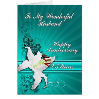 tarjeta del aniversario de 25 años para un marido