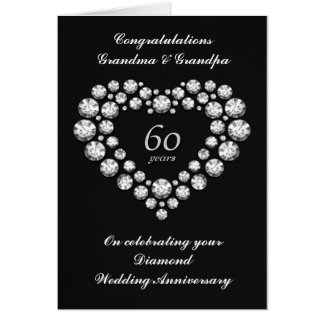 Tarjeta del aniversario de boda de diamante - 60