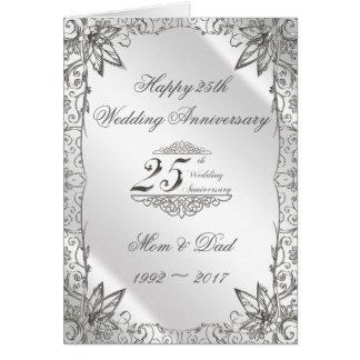 Tarjeta del aniversario de boda de la plata del