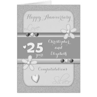 Tarjeta del aniversario de bodas de plata 25 años