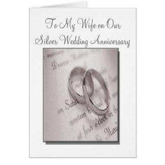 Tarjeta del aniversario de bodas de plata del