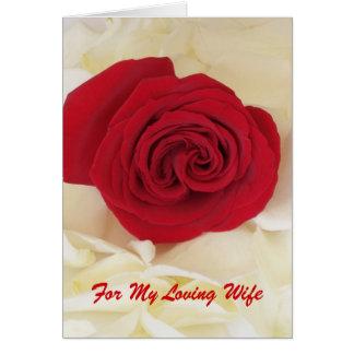 Tarjeta del aniversario de la esposa del rosa rojo