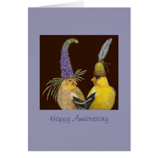 tarjeta del aniversario del goldfinch
