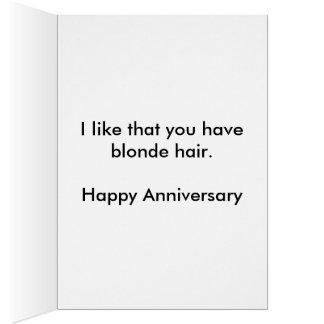 Tarjeta del aniversario del pelo rubio