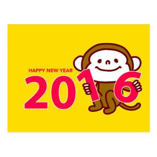 Tarjeta del Año Nuevo de 2016 monos