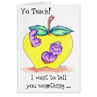 Tarjeta del aprecio del profesor con Apple y el gu