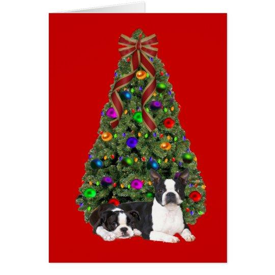 Tarjeta del árbol de navidad de Boston Terrier