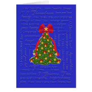 Tarjeta del árbol de navidad de O, villancico de O