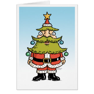 Tarjeta del árbol de navidad de Santa