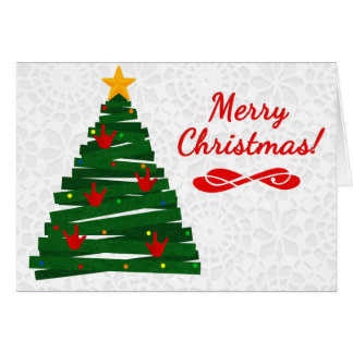 Tarjeta del árbol de navidad del ASL con los