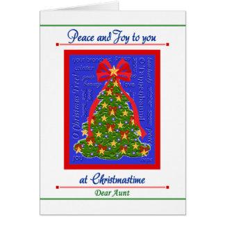 Tarjeta del árbol de navidad para la tía - paz y