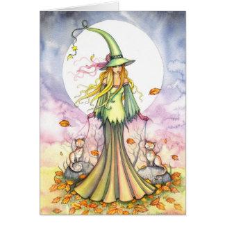 Tarjeta del arte de la bruja y del gato de