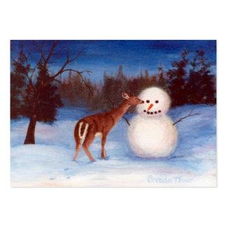 Tarjeta del arte de los ciervos y del muñeco de tarjetas de visita grandes