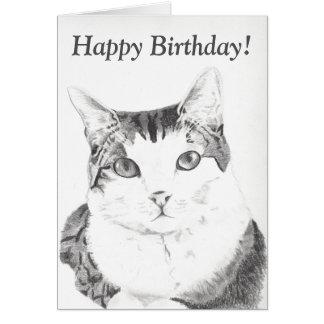 Tarjeta del arte del gato del feliz cumpleaños