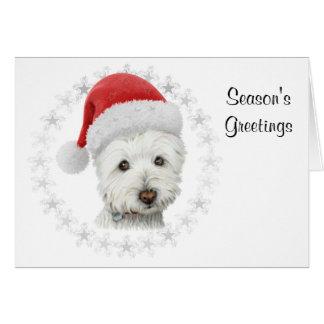 Tarjeta del arte del perro de Westie del navidad