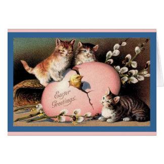 Tarjeta del arte del vintage de los gatitos de