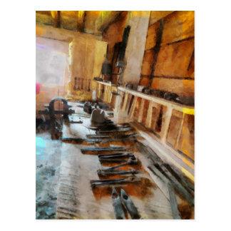 Tarjeta del arte del vintage del carpintero de las postal