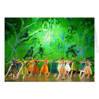 Tarjeta del arte: Loros esmeralda. Ballet Menton.
