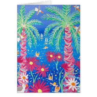 Tarjeta del arte: Mar azul tropical y palmas