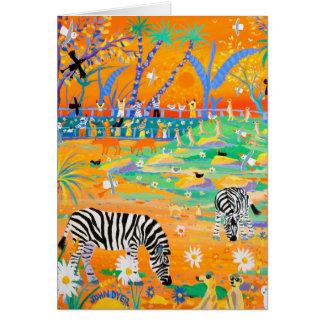 Tarjeta del arte: Puesta del sol rayada del safari