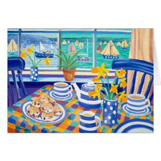 Tarjeta del arte: Teatime de Cornualles (azul de