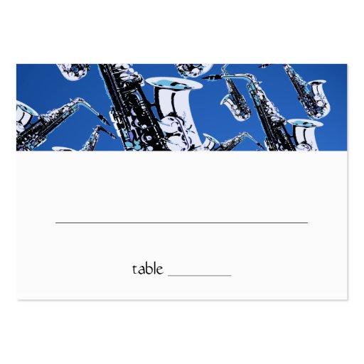 Tarjeta del asiento de Mitzvah de la barra del sax Plantillas De Tarjetas Personales