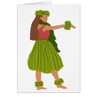 Tarjeta del bailarín de la hawaiana