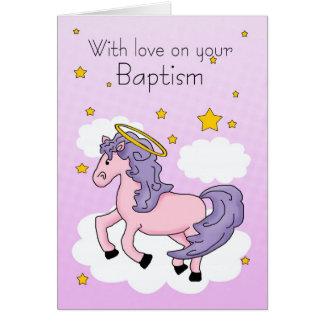 Tarjeta del bautismo con el caballo rosado