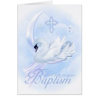 Tarjeta del bautismo con el cisne azul