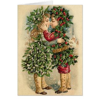 Tarjeta del beso del navidad del Victorian