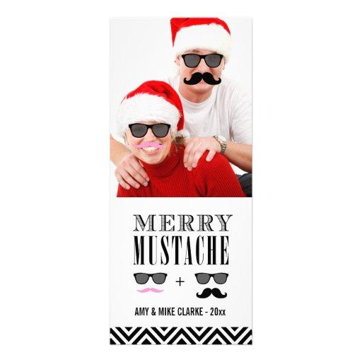 Tarjeta del bigote y de la foto del día de fiesta  invitaciones personales
