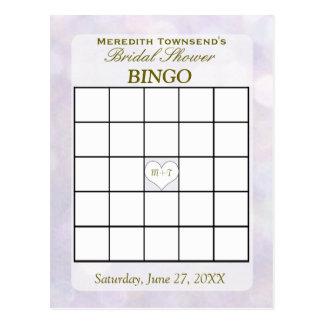 Tarjeta del bingo de Bokeh el   de la lavanda Postal