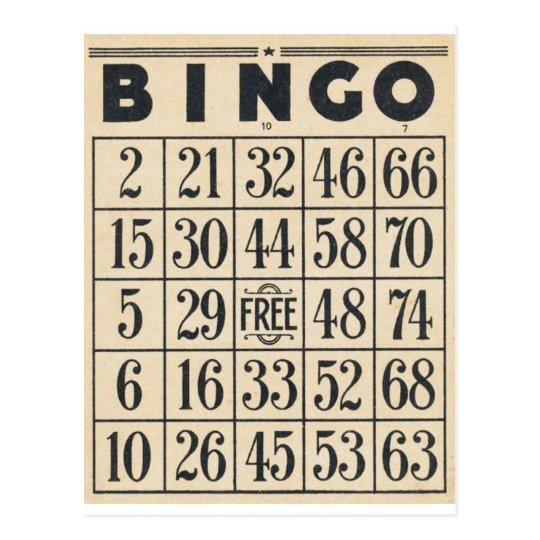 Tarjeta del bingo del vintage